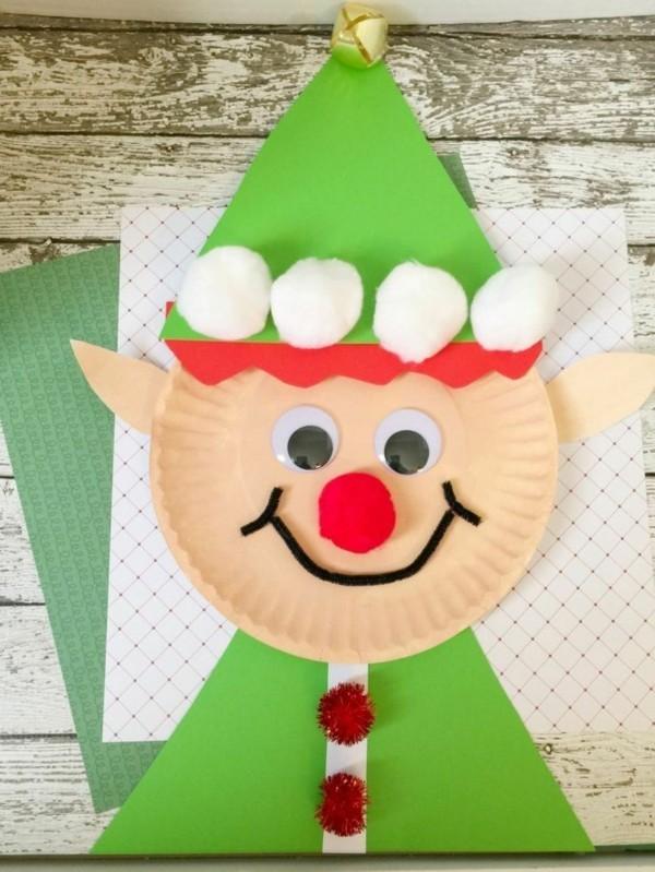 elf basteln mit papptellern zu weihnachten