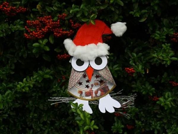 eule basteln mit papptellern zu weihnachten