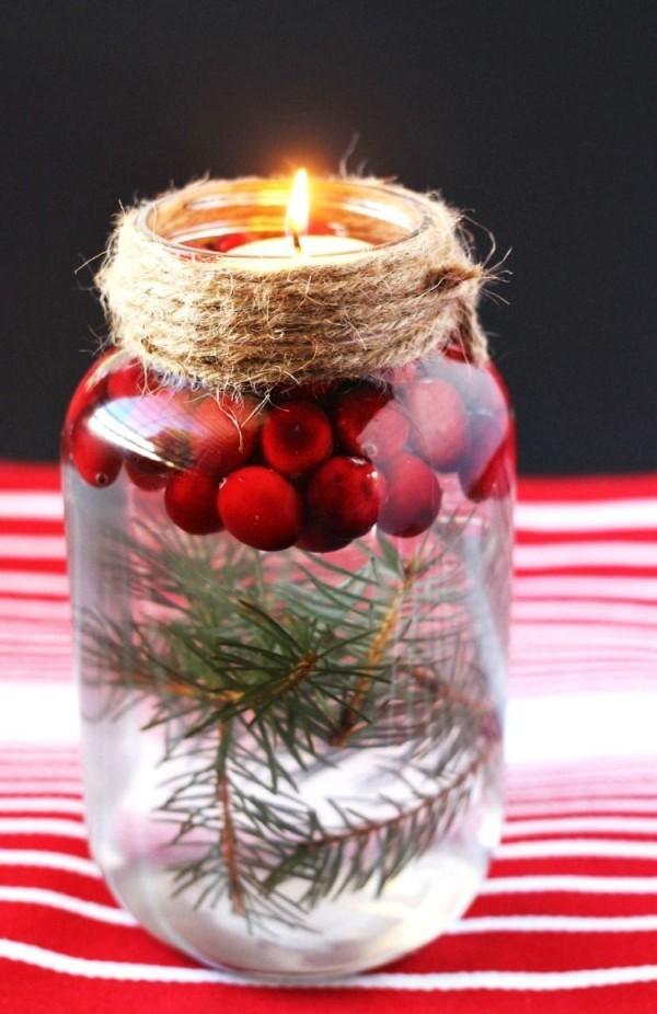 glas mit früchten weihnachten kerzen