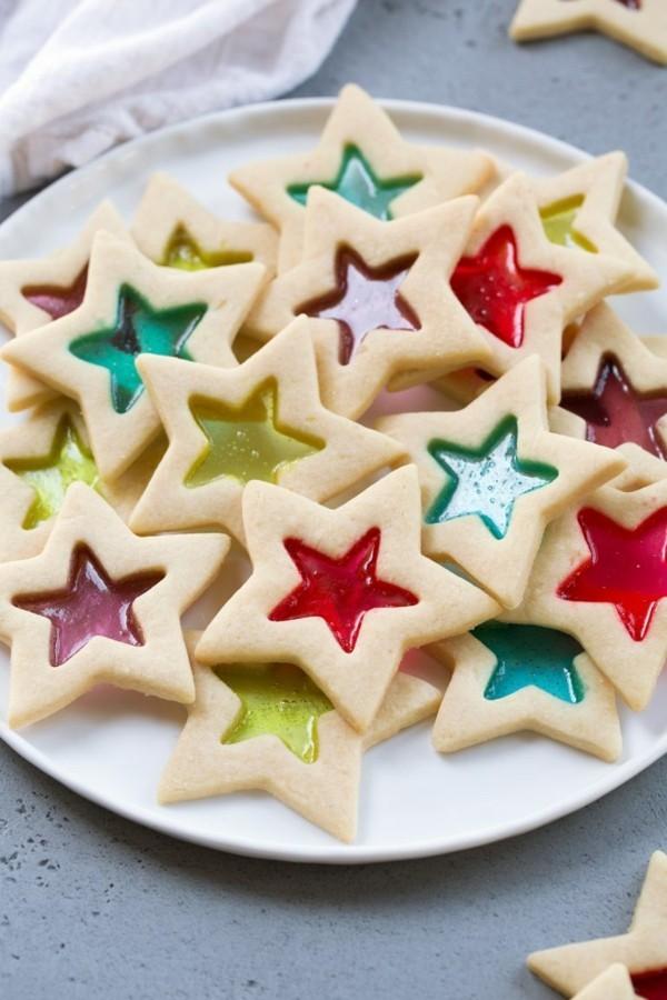 glasperlen plätzchen dekorieren mit bonbons