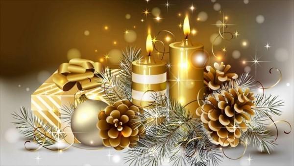 goldene nuancen deko ideen kerzen weihnachten
