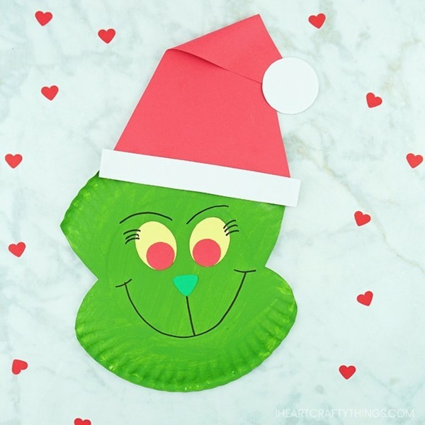 grinch basteln mit papptellern zu weihnachten