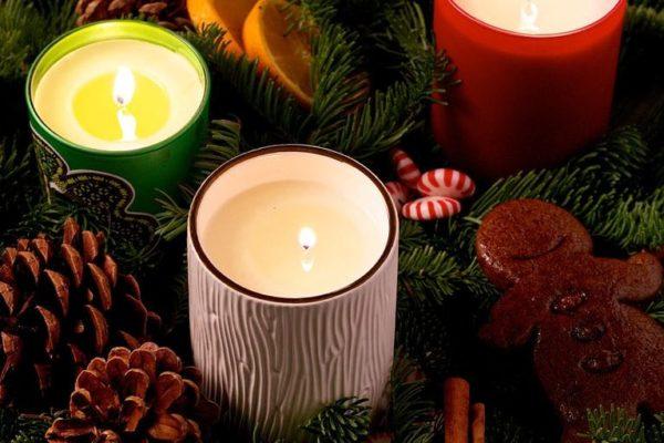kerzendeko rot und weiß weihnachten