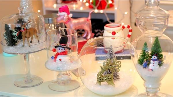 kleine figuren aus schnee - weihnachten deko