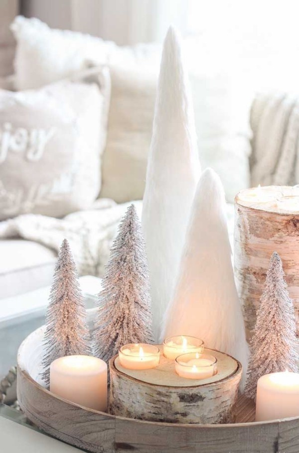 kleine tannenbäume - deko kerzen weihnachten