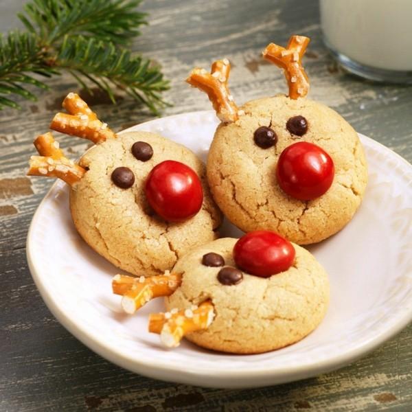 lustige rentier plätzchen dekorieren zu weihnachten