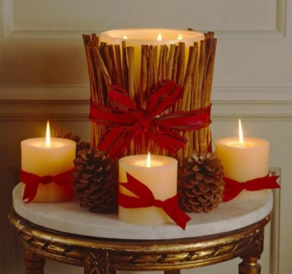 mehrere verschiedene Kerzen dekorieren