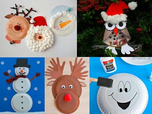 originelle ideen weihnachtsdeko basteln mit papptellern
