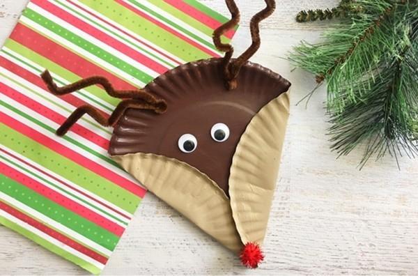 rentier basteln mit papptellern zu weihnachten