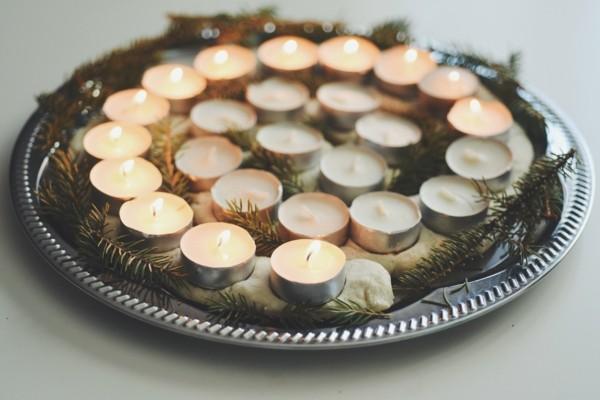 salzteig adventsspirale basteln mit teelichtern