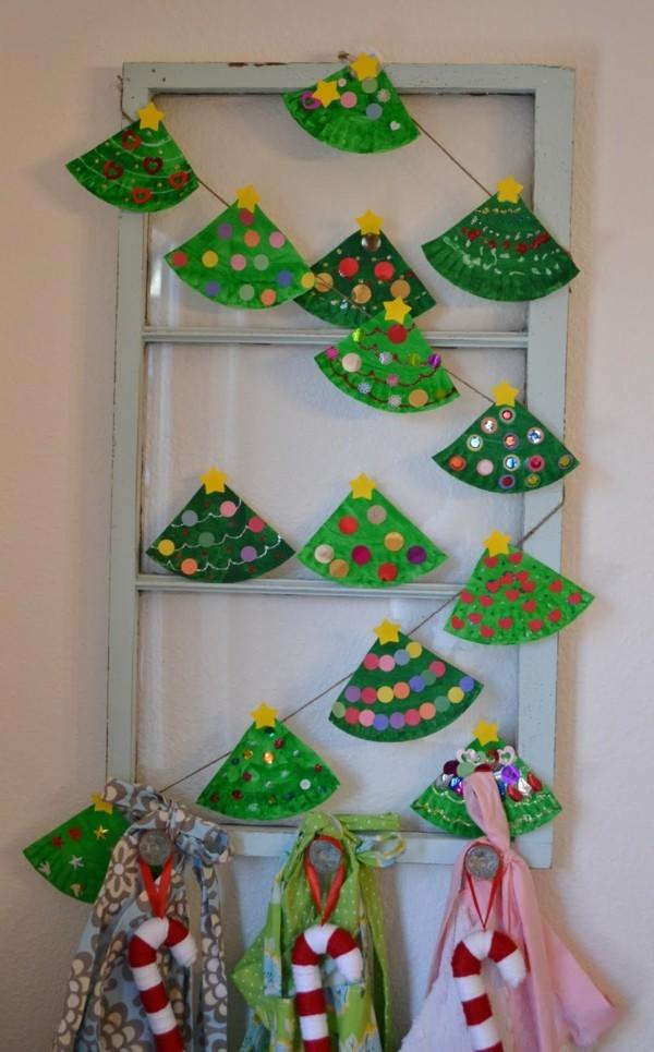schöne weihnachtsgirlande basteln mit papptellern