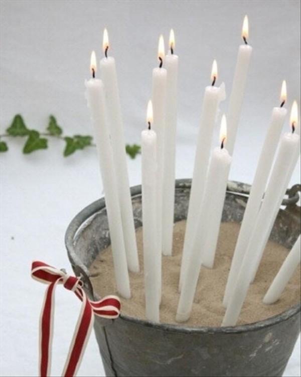 schlichte Idee Kerzen dekorieren