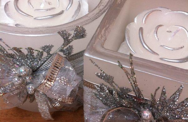 silberne Kerzen - Kerzendeko Kerzen dekorieren