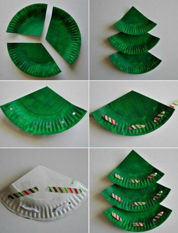 tannenbaum basteln mit papptellern weihnachtsdeko