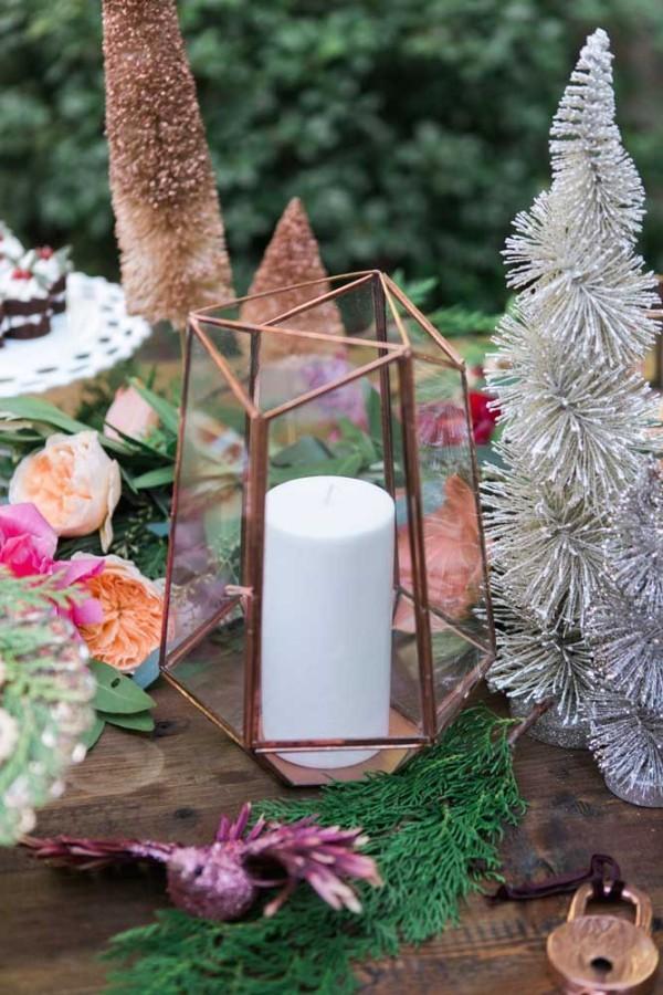tisch außen deko kerzen weihnachten