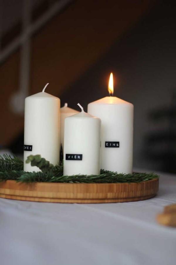 weiße weihnachten kerzen dekoration ideen