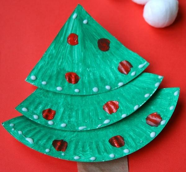 weihnachtbaum basteln mit papptellern