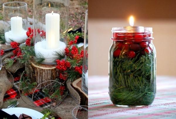 weihnachten deko Glas mit roten Früchten und Nadeln
