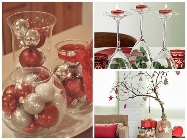 weihnachten deko verschiedene gläser mit weihnachtskugeln