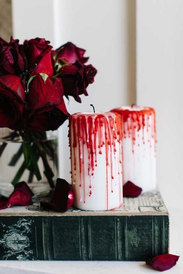 weihnachten kerzen - dekorative kerzen mit blut