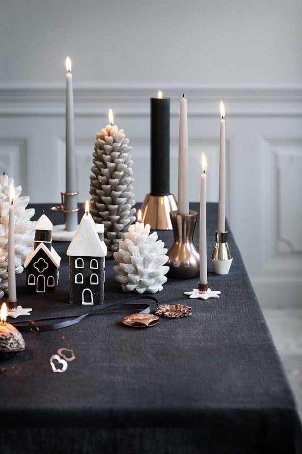 weihnachten kerzen tischgestaltung minimalismus stil