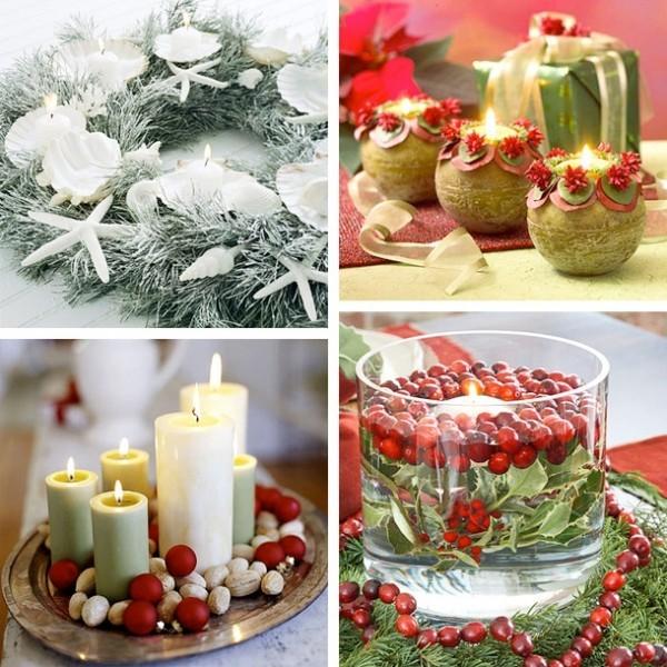 weihnachtliche Deko Ideen Kerzen dekorieren