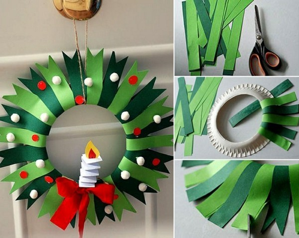 weihnachtsdeko basteln mit papptellern und papier
