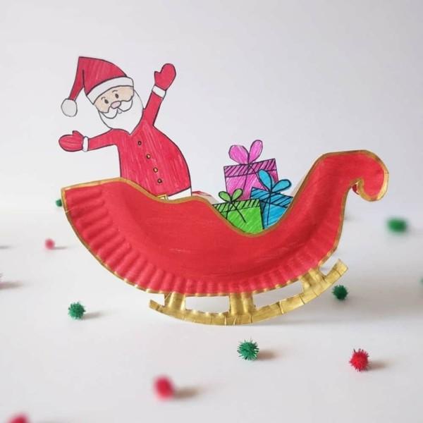 weihnachtsmann schlitten basteln mit papptellern zu weihnachten