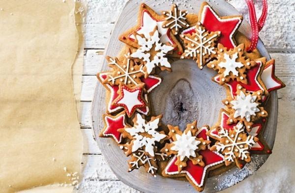 Lebkuchensterne Plätzchen Lebkuchenrezept Pfefferkuchen Weihnachtskranz essbar
