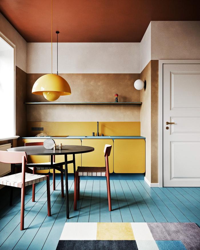 Mehr Farbe im Interieur richtige Farbwahl Beige Gelb Braun Weiß ein ruhig wirkender Küchenraum