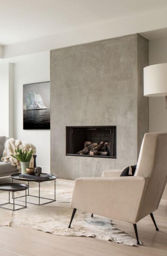 Moderne Kamine eingebauter Kamin schickes Wohnzimmer Weiß dominiert Wandbild