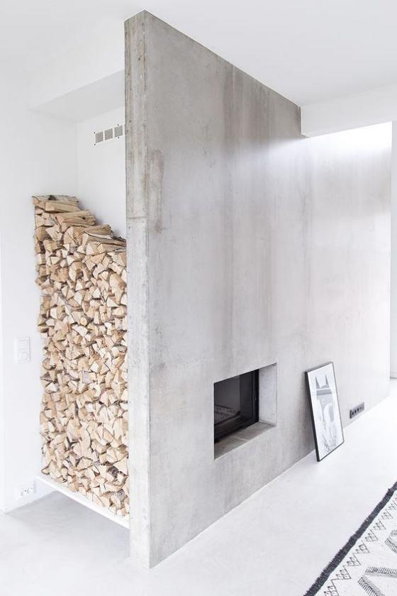 Moderne Kamine minimalistisches Design Stauraum fürs Brennholz vorplanen