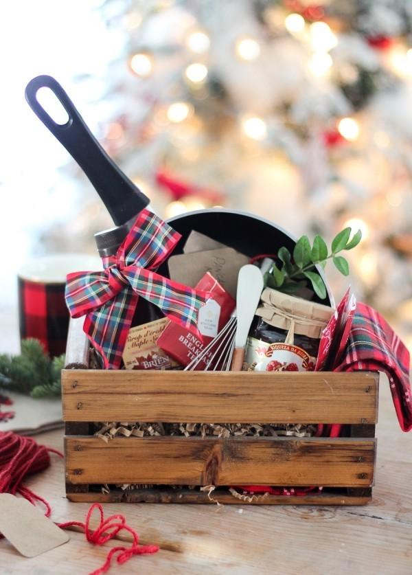Präsentkorb weihnachten - Kasten mit Holz