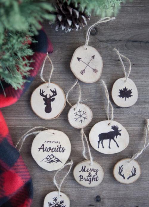 Rustikale Weihnachtsdeko einzelne Christbaumornamente selber basteln