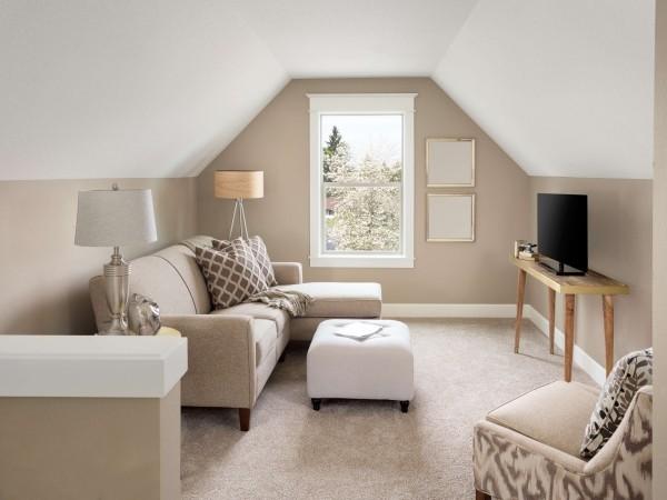 So können Sie Ihren eigenen Teppichboden verlegen heller raum in beige und weiß modern