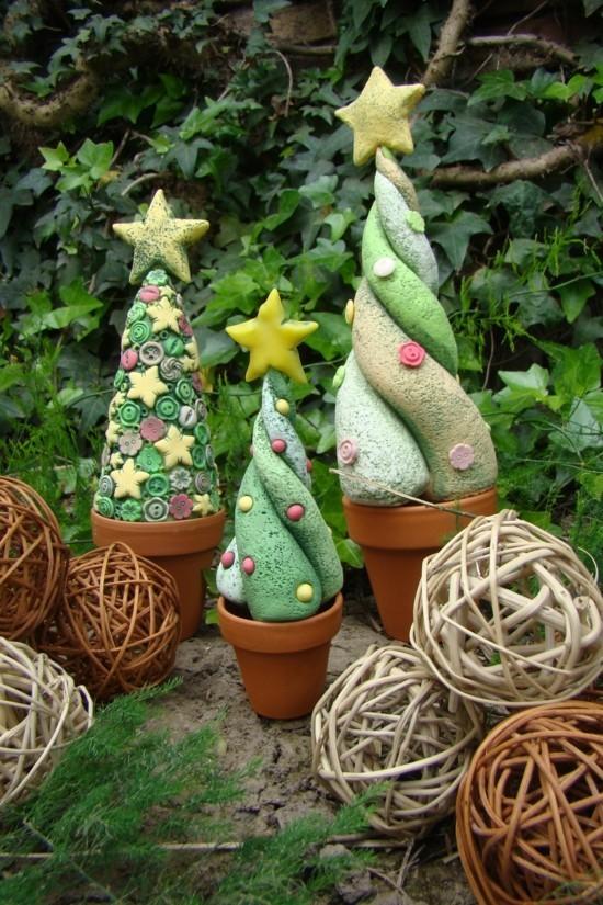 diy weihnachtsbäume weihnachtsdeko aus kaltporzellan