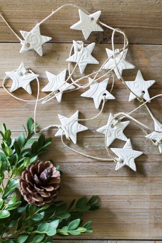 diy weihnachtsgirlande sterne aus kaltporzellan