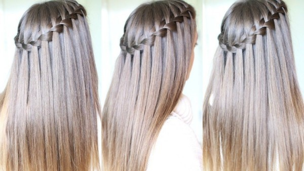 drei Perspektiven Haare Damen Wasserfall Frisur