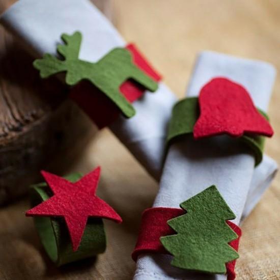 einfache vlies serviettenringe zu weihnachten