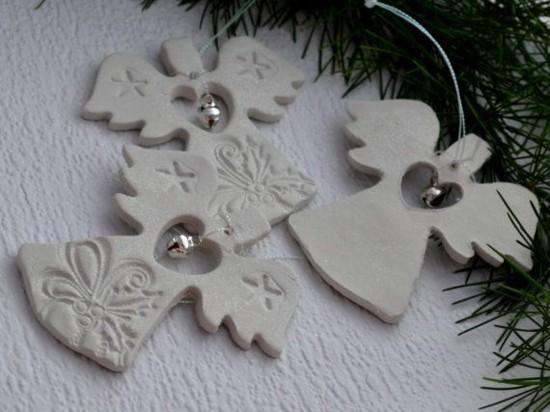 engel basteln als weihnachtsschmuck mit kaltporzellan