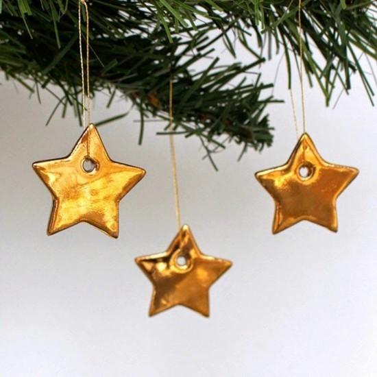goldene weihnachtssterne mit kaltporzellan basteln