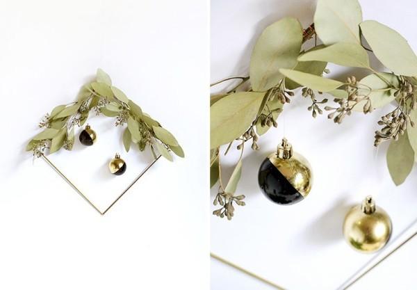 goldener weihnachtsschmuck - ideen für den weihnachtskranz