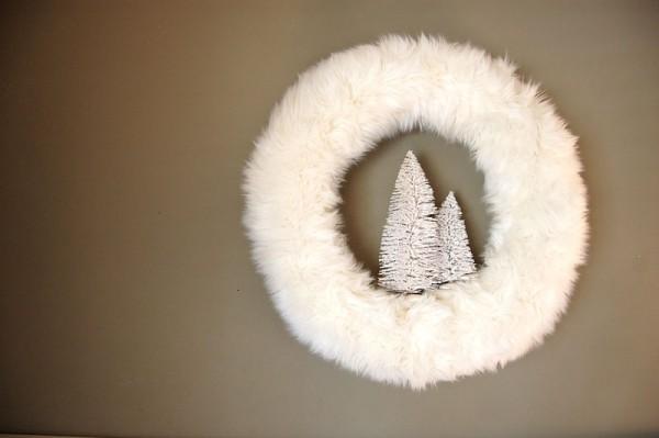 kuscheliger stoff - ideen für einen weihnachtskranz