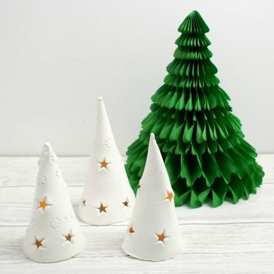 mini tannenbäume basteln mit kaltporzellan