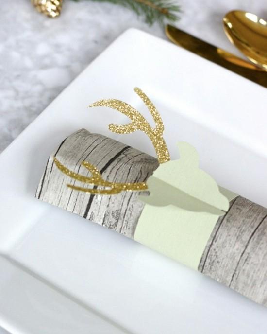 originelle serviettenringe aus papier rentiere