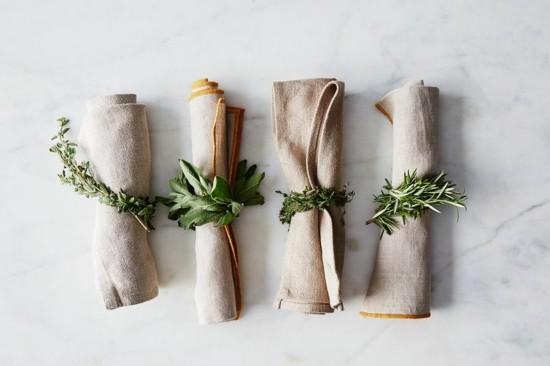 puristische serviettenringe aus kräutern selber machen