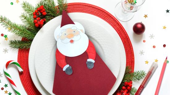 serviettenringe aus papier weihnachtsmann