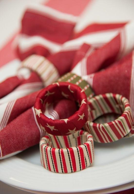 serviettenringe basteln mit stoffbändern