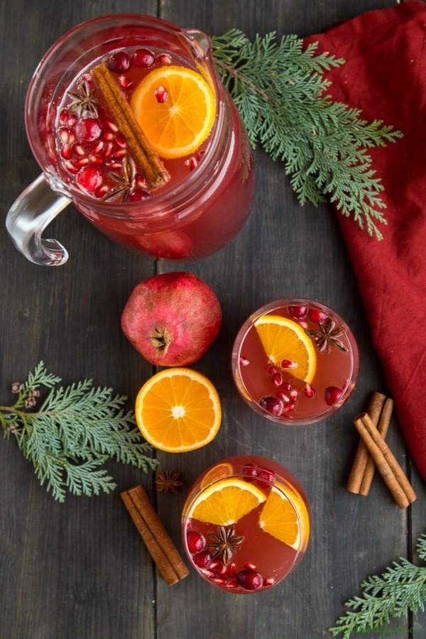 silvester bowle ohne alkohol mit zimt und granatapfel