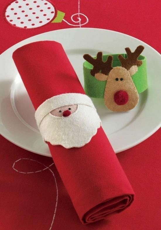 stimmungsvolle serviettenringe weihnachtsmann rudolf rentier